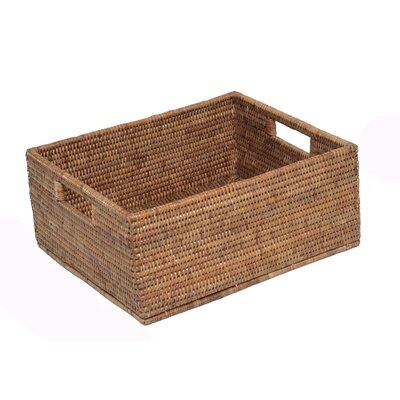 Rattan Rectangular Basket with Cutout Handles Size: 14 x 12 x 6