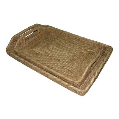 Rattan Rectangular Tray with High Handles Size: 17 x 12 x 1