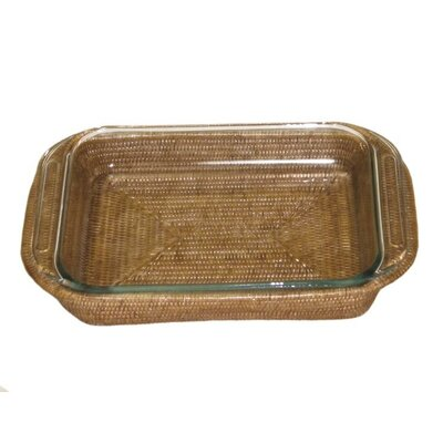 Rattan Rectangular Baker Basket with Pyrex Included Size: 15 x 10 x 2