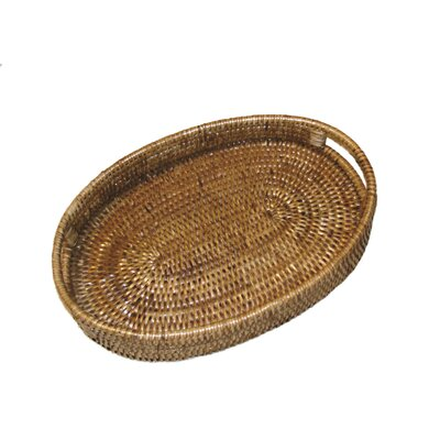 Rattan Oval Tray with Cutout Handles Size: 18 x 15 x 2