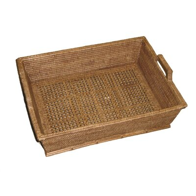 Rattan Open Weave Rectangular Basket with High Handles