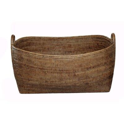 Rattan Basket with Hoop Handles Size: 25 x 22 x 14