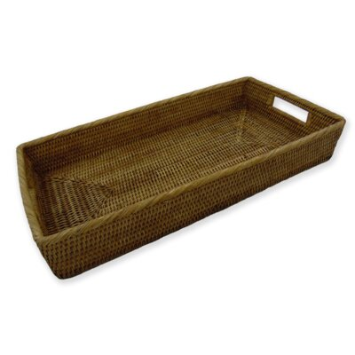 Rattan Rectangular Tray with Rounded Corners and Cutout Handles