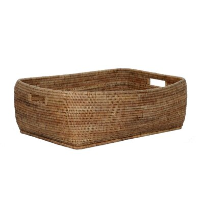 Rattan Rectangular Basket with Cutout Handles Size: 9 H x 28 W  x 21 D