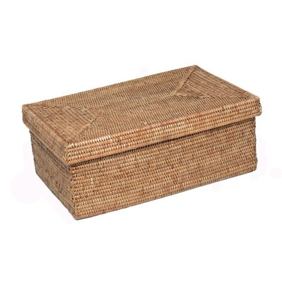 Rattan Rectangular Box with Lid Size: 18 x 11 x 7