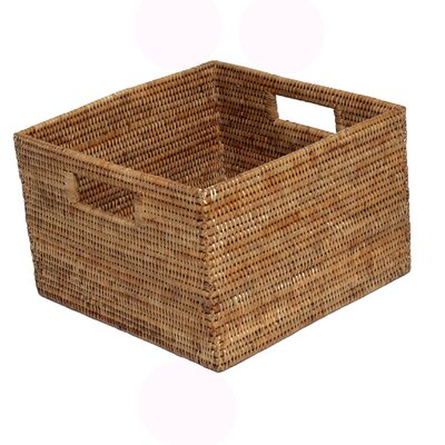 Rattan Square Basket with Cutout Handles