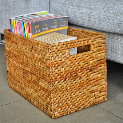 Rattan Legal File Basket with Cutout Handles