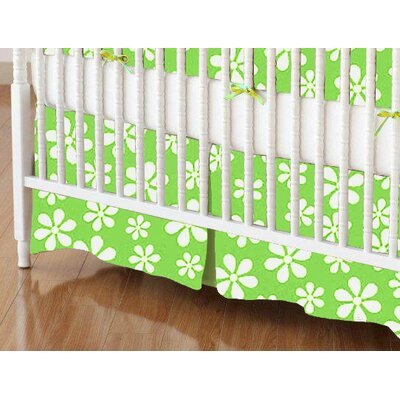 Primary Floral Woven Crib Skirt Color: Green