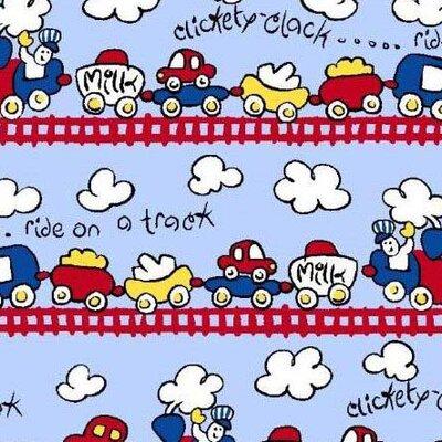 Fun Train Tracks Fabric By The Yard