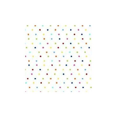 Primary Pindots Woven Fabric By The Yard Color: White