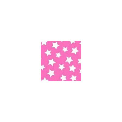 Primary Stars on Woven Fabric By The Yard Color: Pink