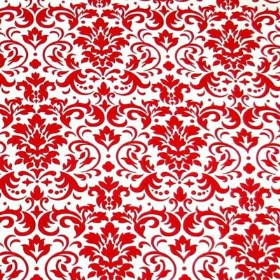 Damask Fabric By The Yard Color: Red
