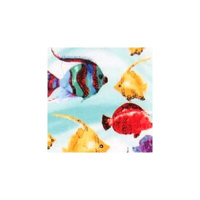 Exotic Fish Fabric By The Yard Color: Aqua