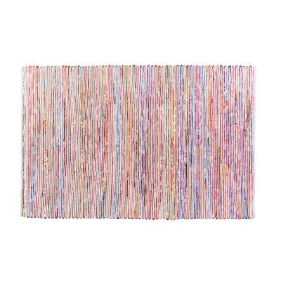 Bartin Handwoven White/Purple Area Rug Rug size: 47 x 66