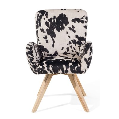 Bjarn Armchair Upholstery: Black/White, Finish: Brown