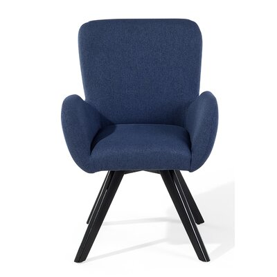 Bjarn Armchair Upholstery: Dark Blue, Finish: Black