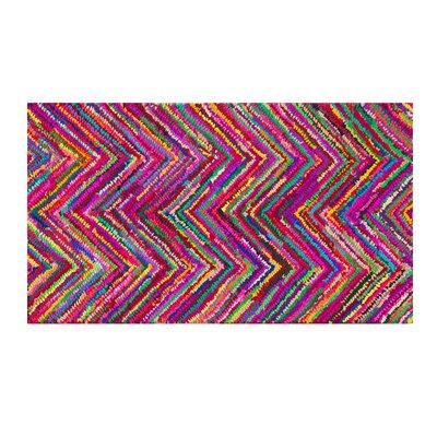 Karasu Hand-Tufted Pink Area Rug Rug size: 27 x 411
