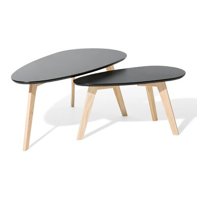 Fly II 2 Piece Nest of Tables Color: Black