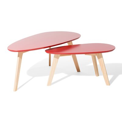Fly II 2 Piece Nest of Tables Color: Red