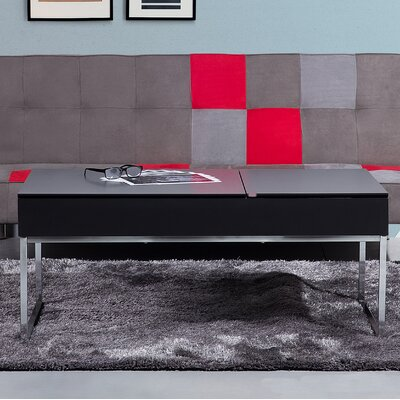 Celinda Coffee Table with Storage Top Color: Black