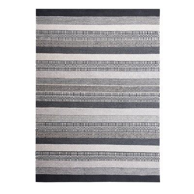 Polati Handwoven Wool Gray/Beige/Black Area Rug Rug Size: Rectangle 53 x 77