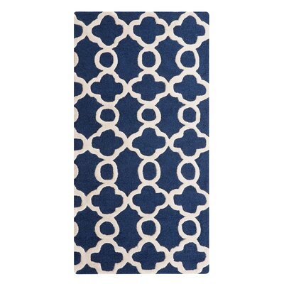 Zile Hand-Tufted Dark Blue Area Rug Rug Size: Rectangle 27 x 411
