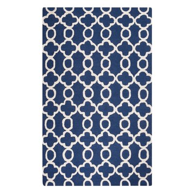 Zile Hand-Tufted Dark Blue Area Rug Rug Size: Rectangle 5'2