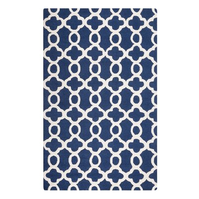 Zile Hand-Tufted Dark Blue Area Rug Rug Size: Rectangle 4'7