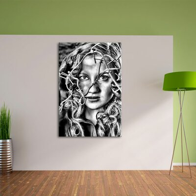 Sexy Girl Barbed Wire Wall Art on Canvas