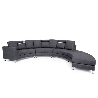 Hiep Round Modular Sectional Upholstery: Gray