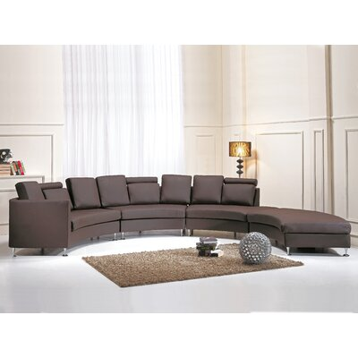 Pittenger Leather Modular Sectional Upholstery: Brown