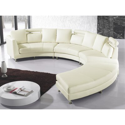 Pittenger Leather Modular Sectional Upholstery: Cream