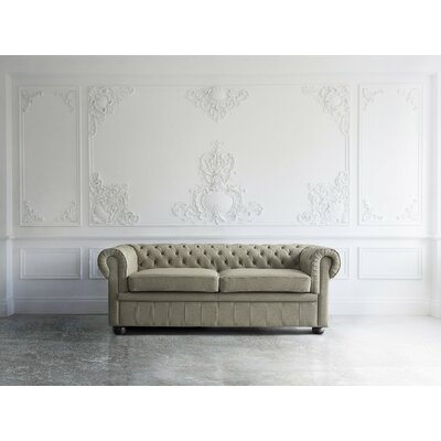 Wardingham Leather Chesterfield Sofa Upholstery: Capuccino