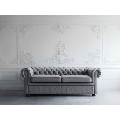 Wardingham Leather Chesterfield Sofa Upholstery: Stone Gray