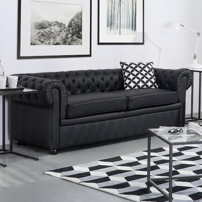 Wardingham Leather Chesterfield Sofa Upholstery: Black