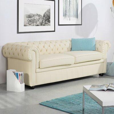 Wardingham Leather Chesterfield Sofa Upholstery: Beige