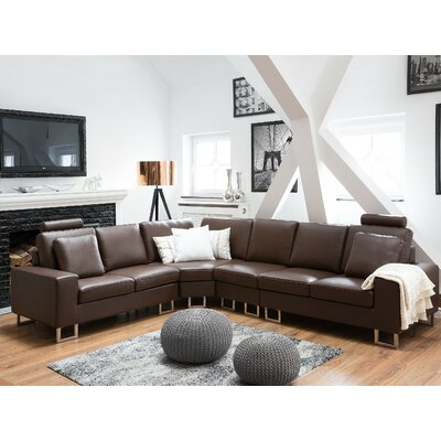 Karlo Leather Reversible Sectional Upholstery : Brown