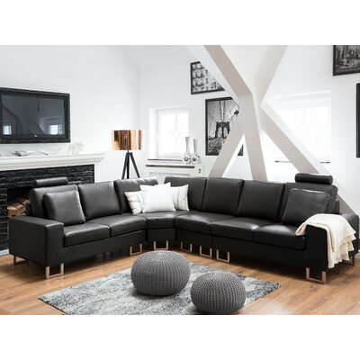 Karlo Leather Reversible Sectional Upholstery : Black