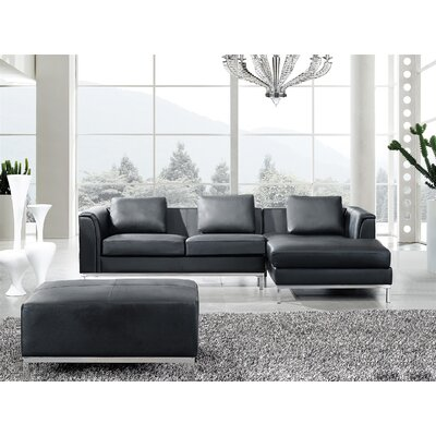 Tachani Leather Corner Sectional Upholstery: Black, Orientation: Right Hand Facing