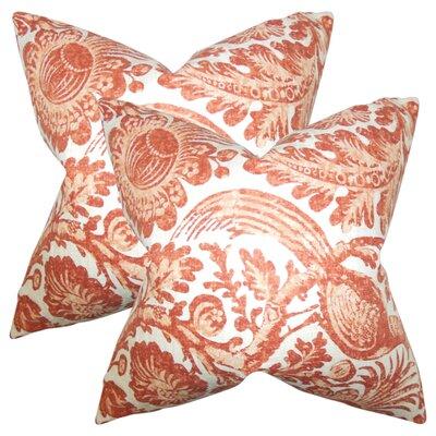 Erling Floral Linen Throw Pillow Color: Orange