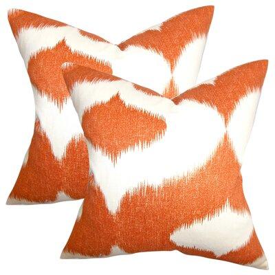 Ternate Ikat Cotton Throw Pillow Color: Orange