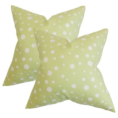 Rech Polka Dots Cotton Throw Pillow Color: Celery Green