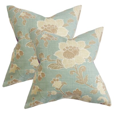 Marcelino Floral Cotton Throw Pillow Color: Blue/Brown