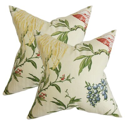 Margarida Floral Cotton Throw Pillow Color: White/Green