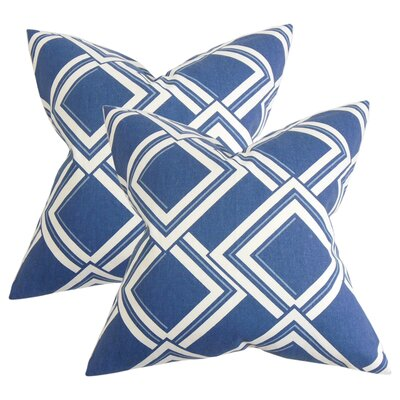 Marton Geometric Cotton Throw Pillow Color: Blue