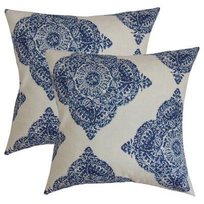 Barta Damask Cotton Throw Pillow Color: Indigo
