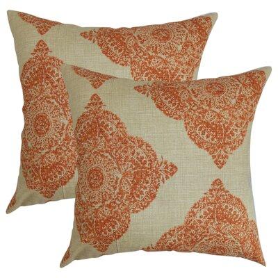 Barta Damask Cotton Throw Pillow Color: Terracota