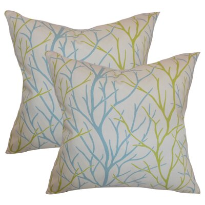 Willow Trees Cotton Throw Pillow Color: Aqua Green