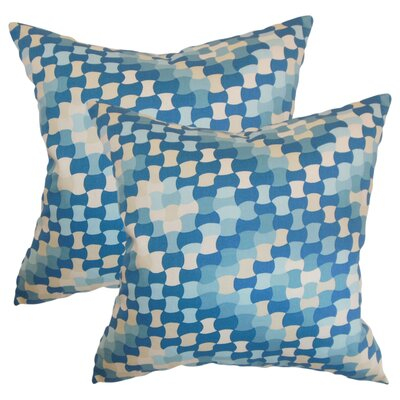 Alaya Geometric Cotton Throw Pillow Color: Aquamarine