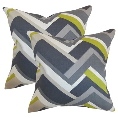 Bryn Geometric Cotton Throw Pillow Color: Gray